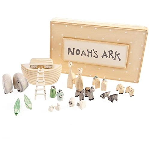 Noah's Ark Gift Boxed Set Hand Carved & Painted Christening New Baby Gift by East of