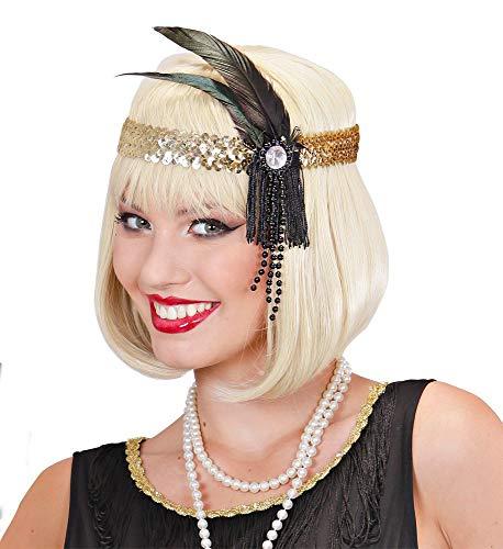 shoperama Diadema de los aos 20 Charleston con lentejuelas y plumas, accesorio para disfraz de mujer Twenties de los aos 20 Gatsby Girl