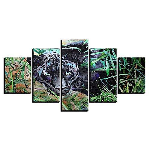 LVLJ 5 Teilige Leinwandbilder Modulare Leinwand Malerei Wandkunst Hd Gedruckte Bilder 5 Stück Black Panther Wohnzimmer Tier Abstraktes Poster Home Decor Frame-150 * 80cm