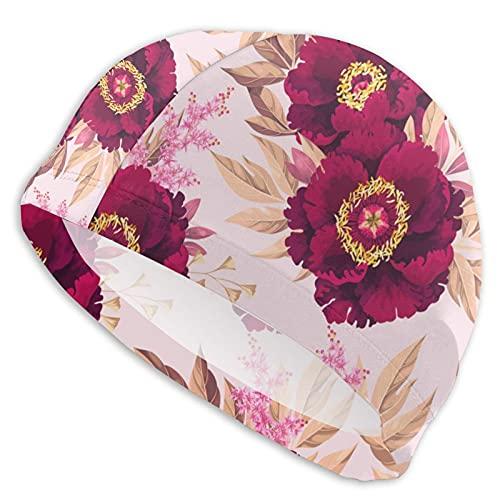 White Tree Peony Swim Caps Short and Long Hair Waterproof Soft Swimming Caps Bathing Hat for Women & Men