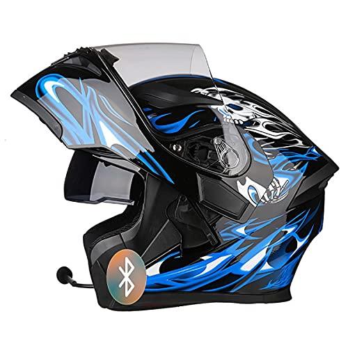 SDFGDFD Casco Moto modulare con Bluetooth, ECE/Dot Homologado Casco Modular Moto Hombre Mujer Adultos, Cascos Modulares con Doble Visera para Motocicleta Scooter Cascos de Motocicleta