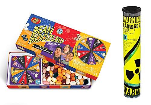 Jelly Belly - Bean Boozled Set Glücksrad (100g) plus Radioactive Sours - Mega-Extrem saure Bonbons Tube (52g) - Geschmacksrichtung Himbeere
