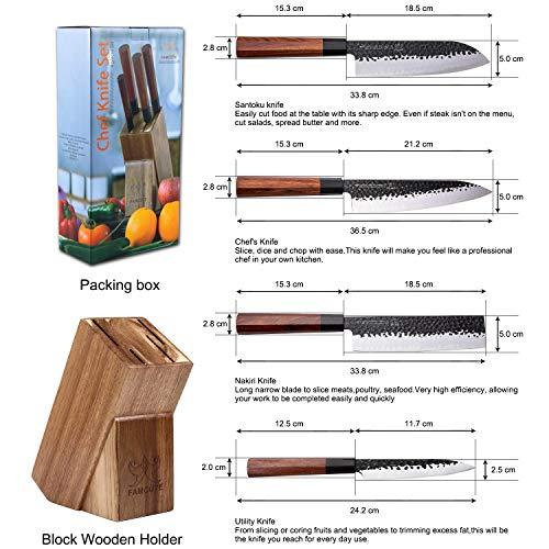 "FAMCÜTE Japanese Chef Knife Set, 3 Layer 9CR18MOV Clad Steel w/octagon Handle and Block Wooden Holder for 4Piece Kitchen Knife Set (8"" Gyuto Knife, 7"" Nakiri Knife, 7"" Santoku knife, 5"" Utility knife)"