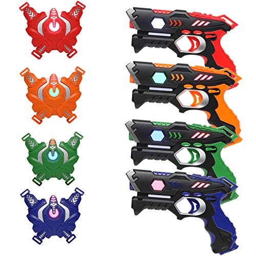 JOYMOR Infrared Laser Tag Guns Set of 4 Blasters and Vests,Multiplayer Mode,Best Toy for Boys Girls Indoor Outdoor Activity-0.9mW