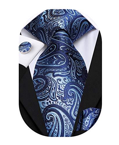 Hi-Tie Mens Paisley Blue Ties Silk Formal Necktie and Pocket Square Cufflinks Set
