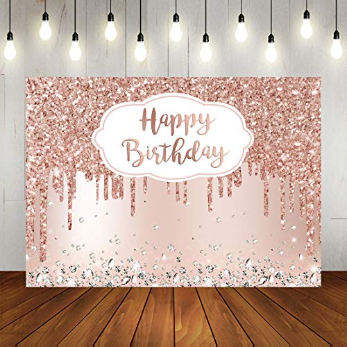 Pink Rose Golden Birthday Party Backdrop Glitter Diamonds Happy Birthday Background Girls Sweet 16 18th 21th Birthday Party Decorations Cake Table Banner Supplies 7x5ft