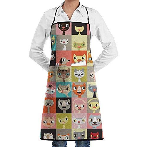 Saudade House Niedliche Katzen Hand Zeichnen Küchenschürze Neuheit Kochen Koch Geschenk Für Männer BBQ Backen Home Küche Schürzen Taschen