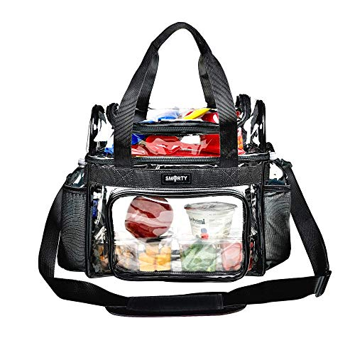 Heavy Duty Clear Lunch Tote Stadium Bag Arena Approved Crossbody Diaper Travel Makeup Cosmetic Bag for Football Basketball Baseball Concerts Correctional Officers (Black, 12 x 6 x 12)
