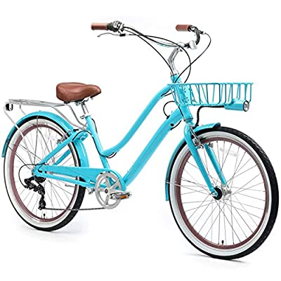 """sixthreezero EVRYjourney Deluxe Women's 7-Speed Touring Hybrid Bike w/Integrated Cable Lock, Basket, Light, 26"""" Bicycle, Teal with Brown Seat and Brown Grips"""