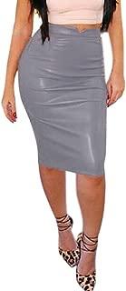 Wocachi Womens Skirts Faux High Waist Midi Bodycon Skirt
