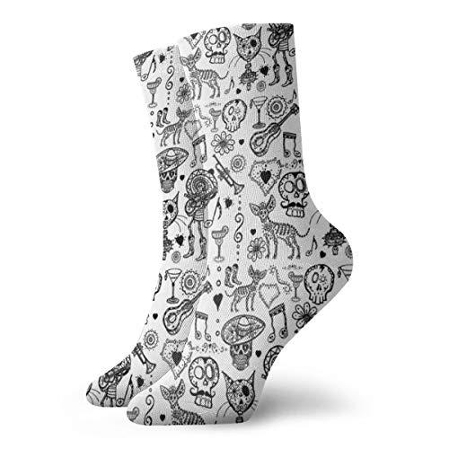 Calcetines de senderismo para hombre y mujer, para recreación al aire libre, calcetines absorbentes, calcetines de media pantorrilla, diseño de calaveras de azúcar