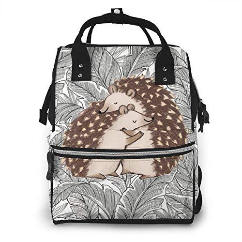 GXGZ Tropical Hosta Leaves Hedgehog of Hug Sac à dos imperméable à couches, compartiment avec deux poches et huit rangements, sacs d'allaitement élégants et durables pour les parents