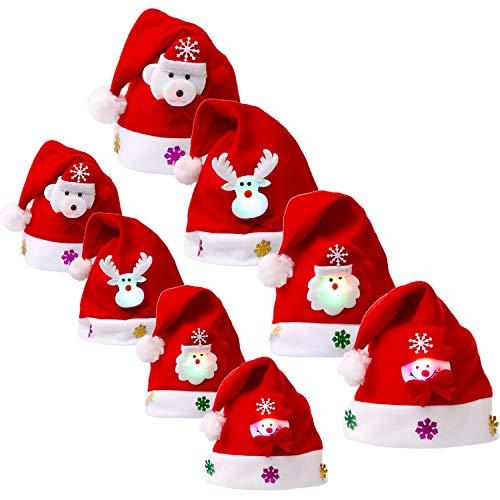 8 Piezas de Sombrero de Navidad Gorra de Terciopelo de LED Luz Sombrero de Patrón de Papá Noel Reno Monigote de Nieve Oso Favores de Fiesta para Adultos y Niños (Talla de Adulto y Niño)