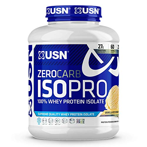 USN Supplements Zero Carb IsoPro 100% Whey Protein Isolate Powder - Keto Friendly, Sugar Free and Low Calorie, Vanilla, 4 Pounds