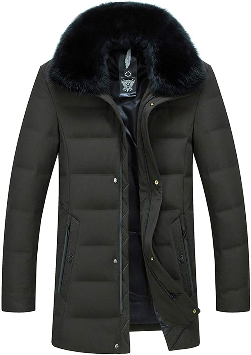 New Down Jacket, Men's Fashion Trend Warm Jacket with Large Fur Collar, Winter Outdoor Cold Padded Clothing, Suitable for Cold Weather (color   Green, Size   L)
