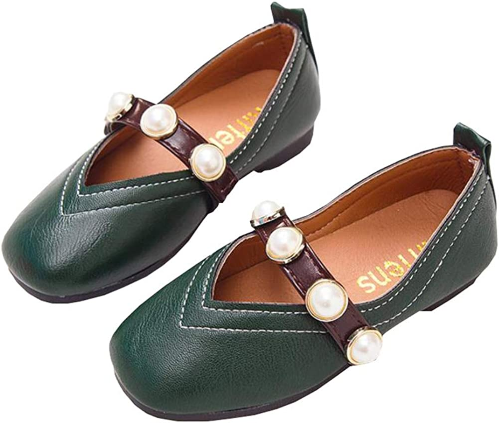 Auhoho Girls Pearl Hollow Girls Dress Shoes PU Leather Mary Jane Ballet Flats