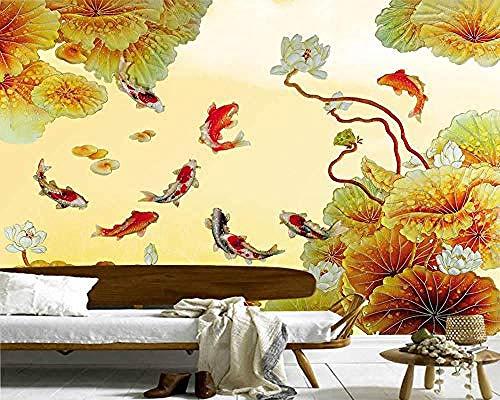 Chinesische Art geprägt Goldfisch Lotus 3D Wallpaper Wandbilder Wohnzimmer TV Sofa Wand Schlafzimmer Küche Tapeten Tapete wandpapier fototapete 3d effekt tapeten Wohnzimmer Schlafzimmer-400cm×280cm