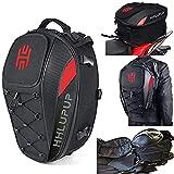 Motorcycle Tail Bag Seat Helmet - 38L Motorcycle Backpack Waterproof Luggage Bags (Red)