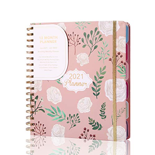 2021 Weekly and Monthly Planner Hardcover Pink Planner for Moms &Teachers, Monthly Tabs, Large 13 Months Planner with Stickers