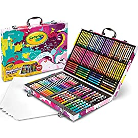 Crayola Inspiration Art Case Coloring Set, Gift for Kids Age 5+ 5 Coloring supplies: features 64 crayon, 20 short colored pencils, 20 Pip-Squeak washable markers, 20 fine tip washable markers, and 15 large sheets of drawing paper, all conveniently stored in a stunning graphic travel case. Pink art case: encourage kids to keep their art supplies organized and protected in this portable art case. Creative projects: whether you're creating a landscape masterpiece or decorating t-shirts with your girl scouts Troop, Crayola has the markers, pens, kids markers, paints, colored pencils & crayons you need to make your project pop in Bold, bright colors.