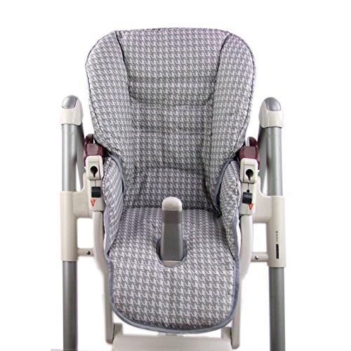 BambiniWelt Cojín de asiento, funda de repuesto para trona Peg Perego Prima Pappa Diner, 24colores Dunkelgrau Karos