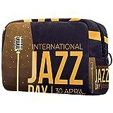 Bolsa de maquillaje personalizada para brochas de maquillaje portátil para mujer, bolso de mano, organizador de viaje, día internacional del jazz 30 de abril Festival de música