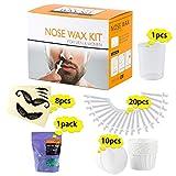 Kit de cera nasal Depilación nasal para hombres y mujeres 100 g de cera 20 piezas de aplicadores de cera 10 cera nasal 8 plantillas de bigote 1 taza medidora