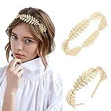 Teruntrue 2 unidades de diadema de hojas de diosa griega romana estilo bohemio corona de hojas de laurel dorado para niñas y mujeres