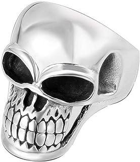 Anello Uomo Titanio Fascia Del Cranio Intagliato Punk Ogni Giorno, WLG, acciaio, taglia 9