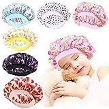 6 Pieces Kids Satin Bonnets Wide Band Silk Bonnet Night Sleep Cap Toddler Hair Bonnet Sleeping Hat For Natural Hair Kids Children Infant Newborn Babies Girls