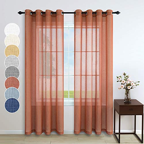 Terracotta Curtains 84 Inches Long for Living Room Set 2 Panels Grommet Window Decoration Faux Linen Drapes Light Filtering Semi Sheer Rust Curtains for Bedroom Baby Girls Room Decor Burnt Orange Red