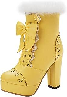RAZAMAZAWomen Sweet Block Heels Dress Boots