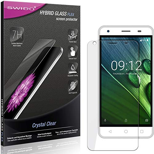 SWIDO Panzerglas Schutzfolie kompatibel mit Acer Liquid Z6E Bildschirmschutz-Folie & Glas = biegsames HYBRIDGLAS, splitterfrei, Anti-Fingerprint KLAR - HD-Clear