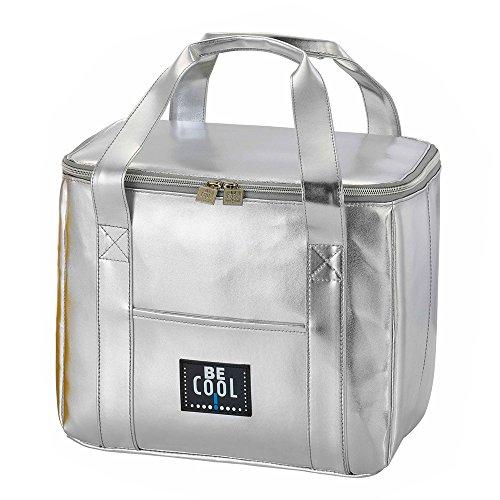 Borsa termica elegante Be Cool argento 29x 18 x 21 cm - borsa per la spesa che raffredda ed è chic con manici ergonomici