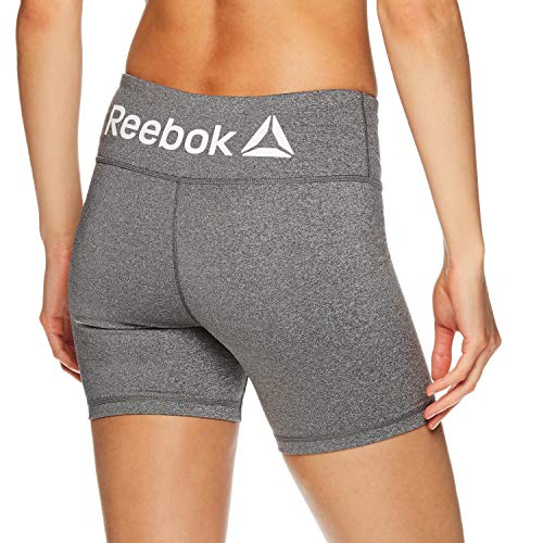 Reebok Women's Compression Running Shorts with Phone Pocket - High Waisted Performance Workout Short - 5 Inch Inseam - Quick Short Flint Grey Heather, Large