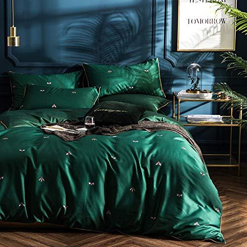 Yaonuli 4-delige katoenen beddengoedset met lange klemmen, 1,8 m lang, geschikt voor bedgrootte 200 x 230 cm, bladeren 245 x 245