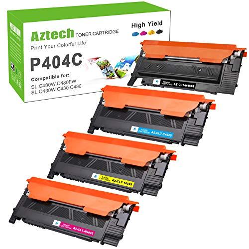 Aztech Kompatibel für Samsung CLT-P404C für Samsung Xpress C480W C480FW C430W C480 C430 Samsung SL-C480FW SL-C480W SL-C430W SL-C480 SL-C480 SL-C430 Toner CLT-K404S CLT-Y404S CLT-C404S CLT-M404S