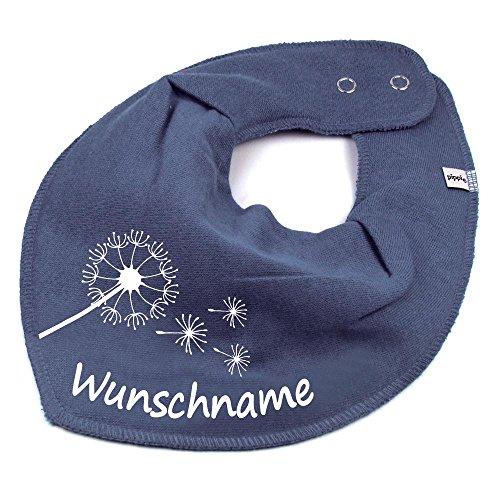 Elefantasie HALSTUCH PUSTEBLUME mit Namen oder Text personalisiert dunkelgrau für Baby oder Kind