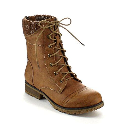 Refresh Damen Wynne-06 Sweater Cuff Lace Up Combat Boots, Beige (hautfarben), 37 EU