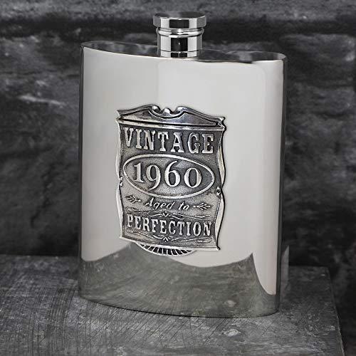 English Pewter Company 6oz Vintage Jahre 1960 60. Geburtstag oder Jubiläumsgeschenk Zinn Flachmann - einzigartige Geschenkidee für Männer [VIN016]
