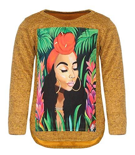 Kinder Mädchen Pullover Motiv Pulli Langarm Sweatshirt Rundhals 30229 Gold 146