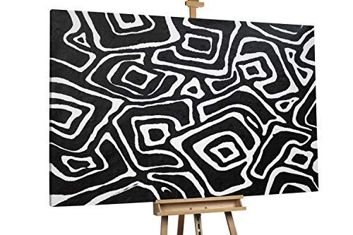 'Abstract Galaxies' 180x120cm | Abstrakt Schwarz Weiß Elemente XXL | Modernes Kunst Ölbild