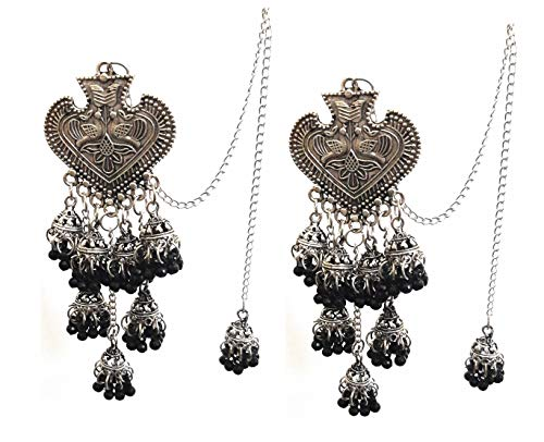 Pendientes de cadena Bahubali Kan de plata oxidada, estilo indio Bollywood, estilo tribal, bohemio, jhumka, estilo étnico tradicional