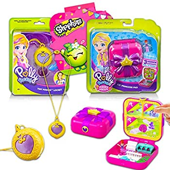 Polly Pocket Playset Bundle ~ 10 Pc Polly Pocket Playset Including Polly Pocket Princess Pad Polly Pocket Tiny Power Locket and Stickers  Polly Pocket Toys for Girls