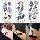 tzxdbh 3 Piezas/Set Pegatinas de Tatuaje de Cuerpo de Dibujos Animados Belleza joyería Femenina Maquillaje Tatuaje Cuerpo calcomanía Verano 3 Piezas-