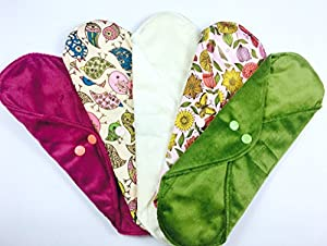 "Heavy Flow 5 Packs, Plain or Patterned, HEAVY FLOW - Cloth Sanitary Pads (CSP), 30cm long x 10cm wide (11.75"" L x 4"" W) Bamboo CHARCOAL, Minkee / MINKY, Washable Reusable Period Protection, Menstrual Products, Mama Towel, Sanitary Napkins - Kernow Kloth"