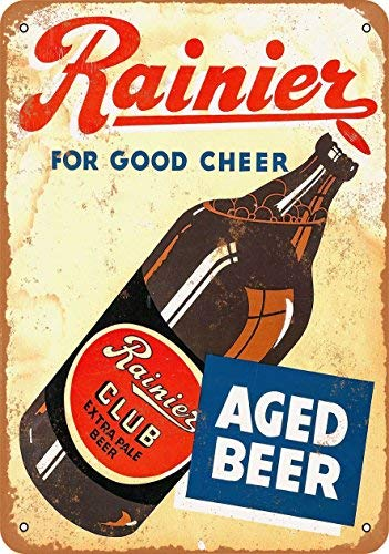 mengliangpu8190 Metalen bord 1934 Rainier Club Extra Pale Bier Vintage Look Reproductie 7