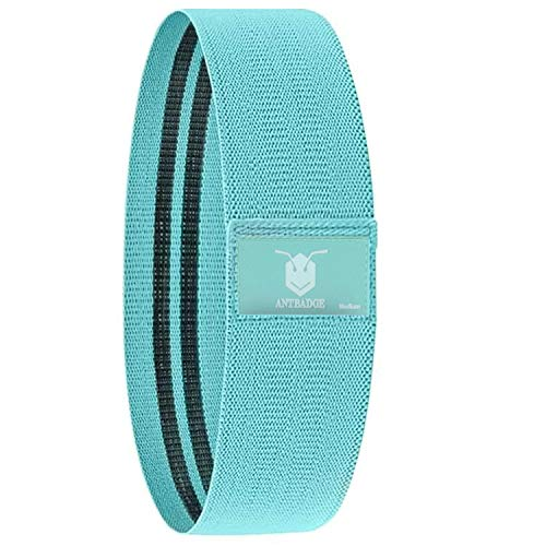 ANTBADGE Anti-Slip Fabric Resistance Loop Bands for Women AND Men (Non-Slip & Non-Rolling). Stretchable Exercise Band to Hips Glutes Thighs Legs ABS , Outdoors or Gym with portable Carry Bag