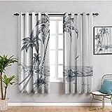 Isla Impreso insonorizado Privacidad ventana Cortinas Sketch Art of a Tropical Seaside con palmeras Pesca Barco Flying Birds Muebles protectores Gasolina Azul Blanco W63 x L45 pulgadas