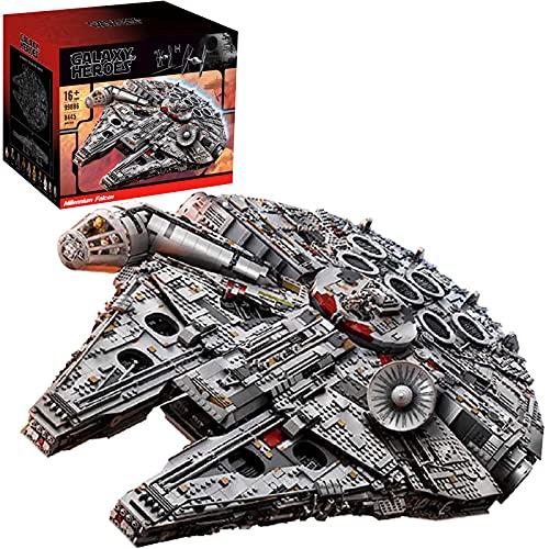 Technic Star Wars Millennium Falcon Falcon Starship Model Mit Displayständer,8445 Teile großes Raumschiff Bauset MOC Klemmbausteine Set Kompatibel mit Lego A,84 * 56 * 21cm